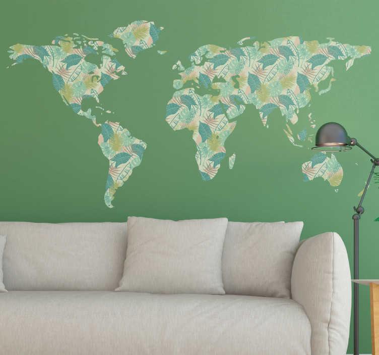 TenStickers. Autocolante mundo mapa mundo tropical. Autocolante decorativo para dar um toque mais moderno e personalizado à sua vida e pertences.  Vinis resistentes e duradouros.