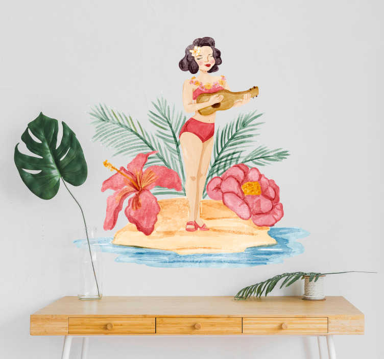 TenStickers. Hawaiian Girl Living Room Wall Decor. Pay tribute to the magic of Hawaii with this fantastic wall art sticker depicting a woman in a Hawaiian environment! Anti-bubble vinyl.