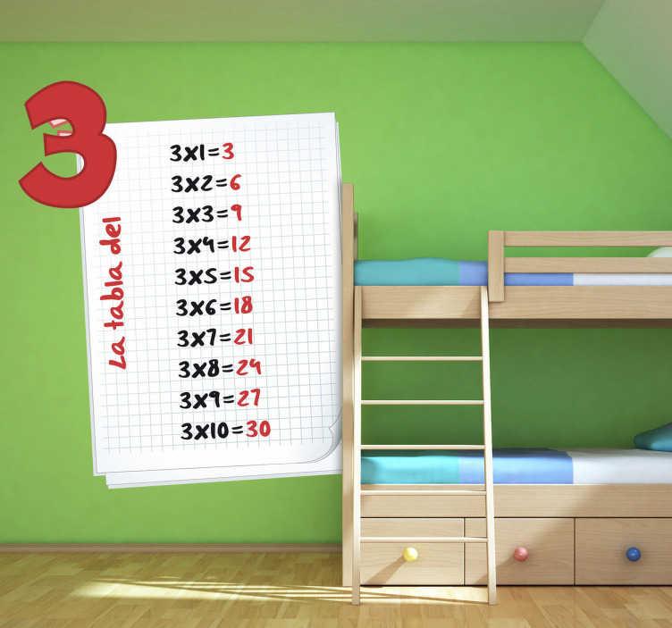 TenVinilo. Pegatina infantil tabla del tres. Adhesivo de una hoja de bloc con la tabla del 3. Diseño exclusivo para colocar en las paredes de una aula o en la habitación del más pequeño de la casa.