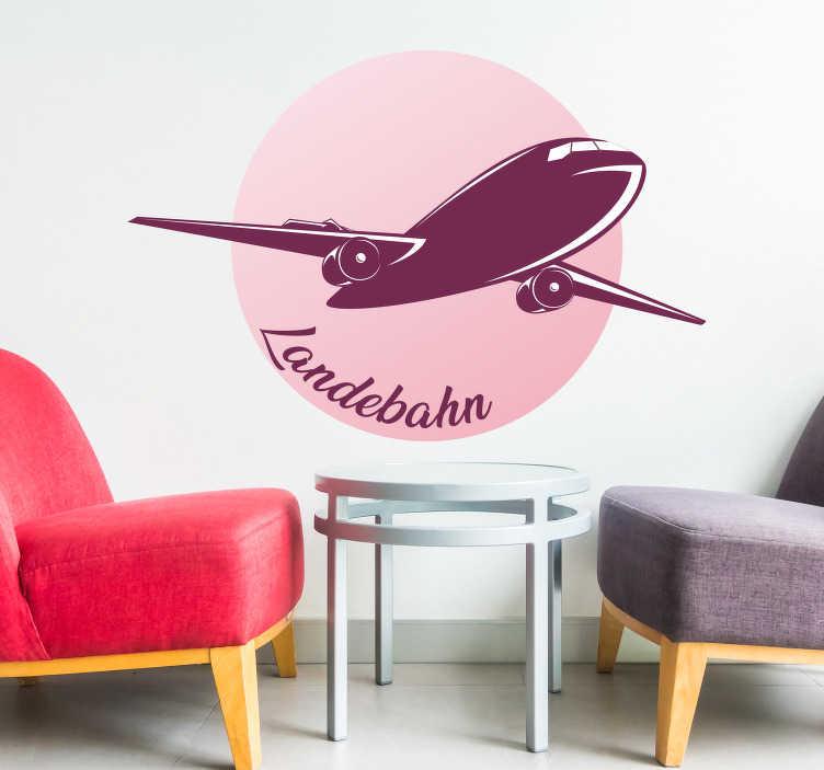 TenStickers. Wandtattoo Jugendzimmer Flug Landebahn. Landebahn Flugzeugsticker kann man ganz leicht in seinem Wohnzimmer oder Jugenzimmer aufhängen. Das Wandtattoo zeigt ein schönes Flugzeug.