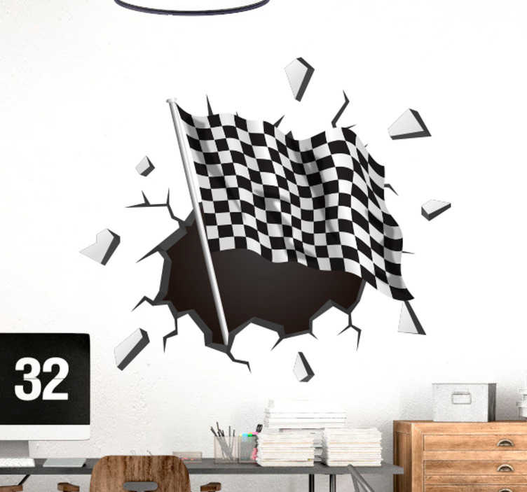 TenStickers. trompe l'oeil racing flag visual effects wall decal. Trompe l'oeil racing flag wall sticker designed in visual effect appearance. Easy to apply and available in any required size.