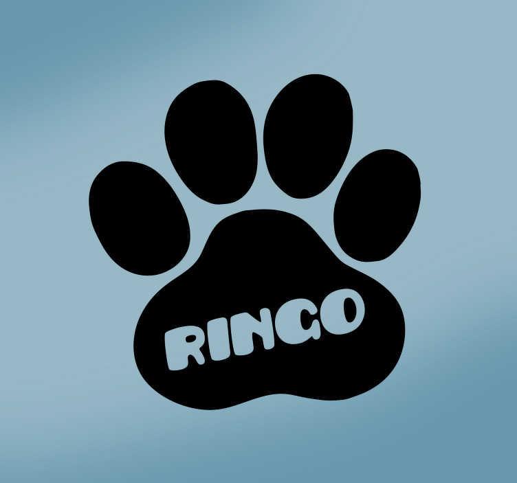 TenStickers. Text Aufkleber Hundepfote personalisierbar. Niedlicher Hundepfotenaufkleber, über den sich jeder Hundeliebhaber oder Hund freuen wird. Sie können den Namen des Wandtattoo bestimmen.