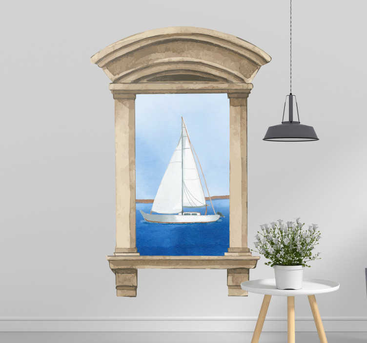 TenStickers. Wandtattoo Wohnzimmer Fenster mit Segelboot. Ein schöner Aufkleber der einem ein fabelhaften Ausblick auf ein Meer mit Segelboot gewährt. Der Rahmen drumherum gibt dem Sticker ein gewissen Flair.