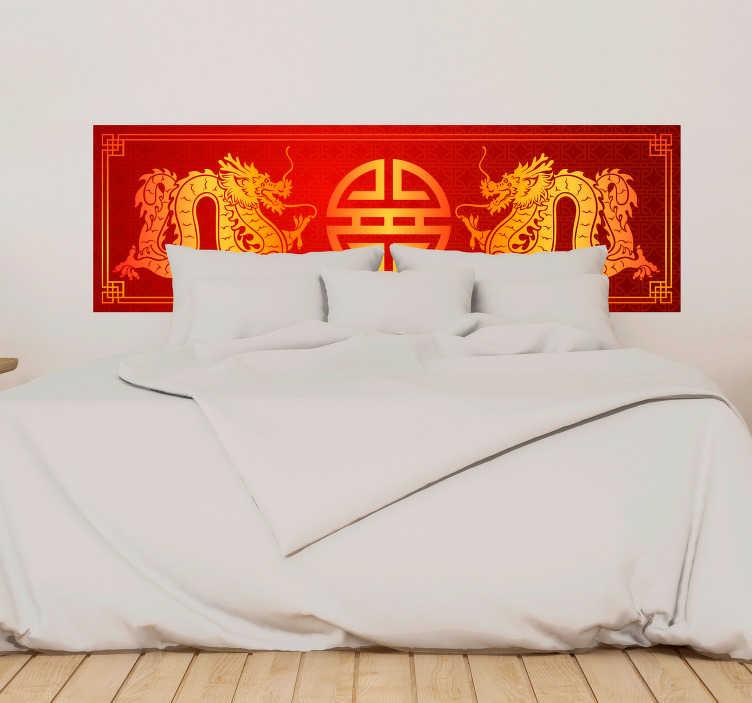 TenStickers. Sticker Maison tête de lit chinoise. À tous ceux qui ont toujours rêvé de voyager en Chine, ce sticker tête de lit de dragons dorés sur fond rouge rendra votre chambre originale !