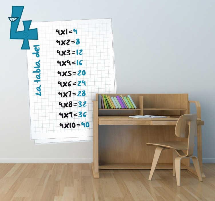 TenVinilo. Vinilo infantil hoja tabla del cuatro. Adhesivo  infantil para retener en tu memoria la tabla del uno. Harás que tu hijo estudie y aprenda a multiplicar decorando su habitación con este didáctico vinilo.