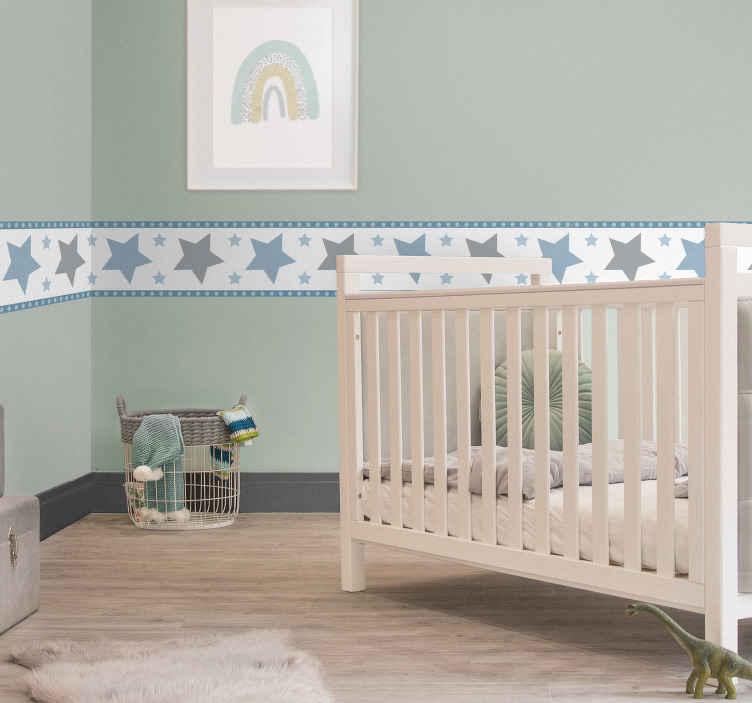 TenStickers. Sticker Chambre Enfant Frise Étoiles. Pour un autocollant chambre enfant qui donnera une atmosphère relaxante à la pièce, cette frise autocollante d'étoiles sera poétique.