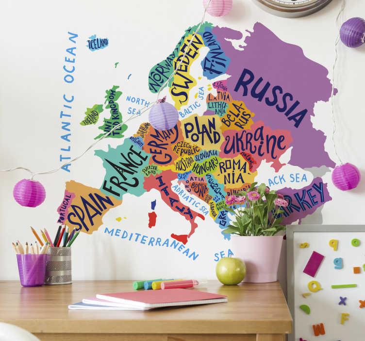 TenStickers. Muurstickers kinderkamer europa kaart. Toffe europa kaart muursticker voor de kinderkamer. Leer je kinderen over landen met leuke europa kaart sticker met leuke muurdecoratie wereldkaart!