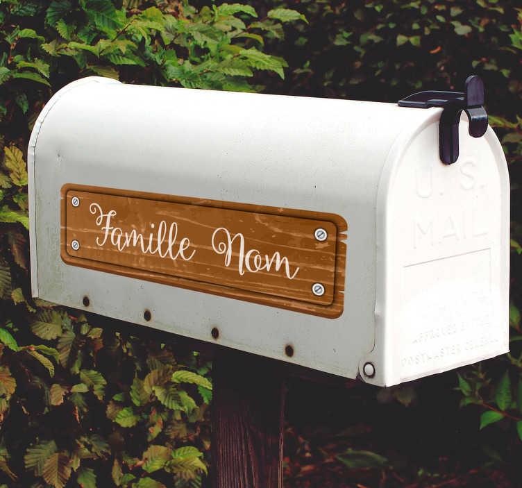 TenStickers. Sticker Entrée Boite aux letters texture bois. Autocollant signalétique original pour votre boîte aux lettres. Sa texture bois rafraîchissante est une idée déco sympathique.