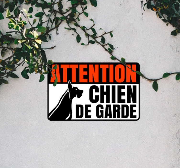 """TenStickers. Sticker Maison Chien méchant. Autocollant entrée """"Attention, chien de garde"""" pour prévenir vos voisins de la présence de votre fidèle compagnon ! Prix Imbattables."""