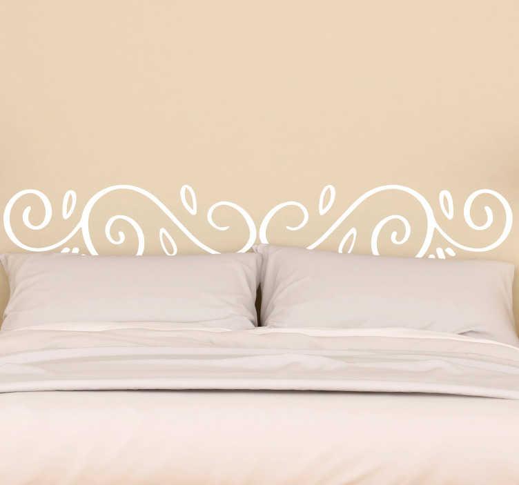 TenStickers. Sticker tête de lit moderne. Stickers décoratif idéal pour décorer élégamment la tête du lit dans votre chambre. Traits arrondis entrelacés.