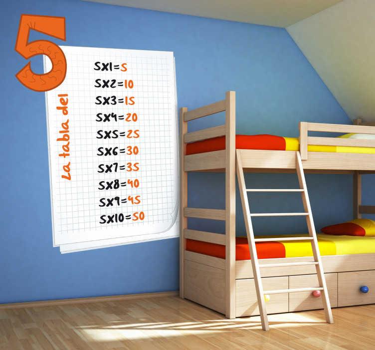 TenVinilo. Adhesivo infantil hoja tabla del cinco. Memoriza la tabla del cinco con este Adhesivo  infantil. Harás que el aprendizaje de tu pequeño sea más fácil con un didáctico vinilo.
