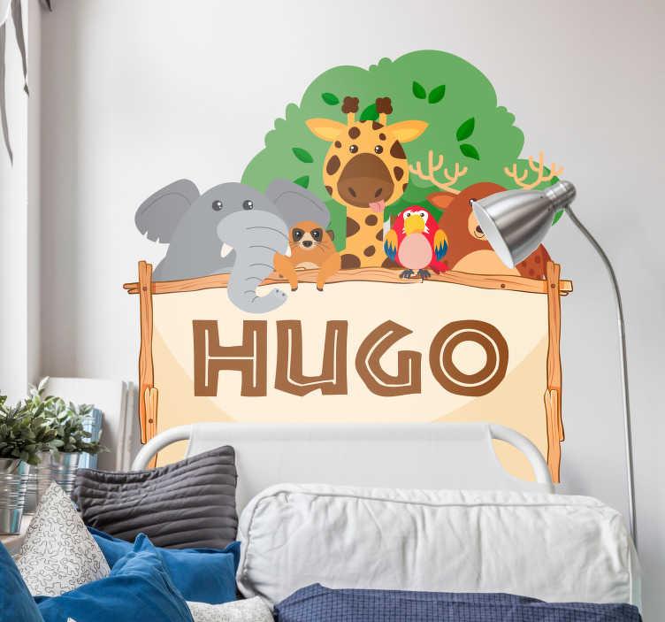 TenVinilo. Vinilo pared cabecero jungla personalizable. Vinilo adhesivo para habitación infantil formado por el diseño de un cabecero, del cual asoman unos graciosos animales. +50 Colores Disponibles.