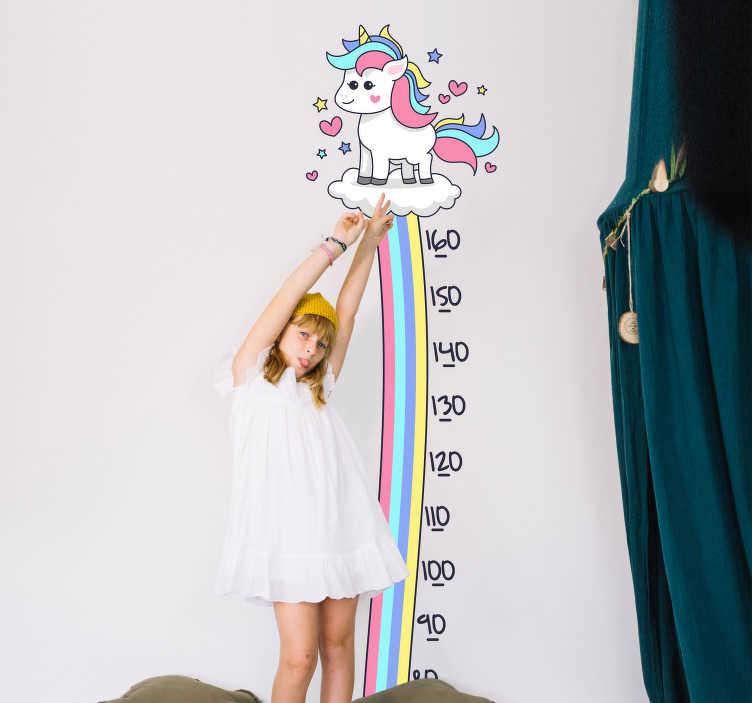 TenVinilo. Vinilo infantil medidor unicornio y arcoiris. Medidor adhesivo para habitación infantil formado por el diseño de un arcoiris, el cual acaba en la ilustración de un unicornio. Precios imbatibles.