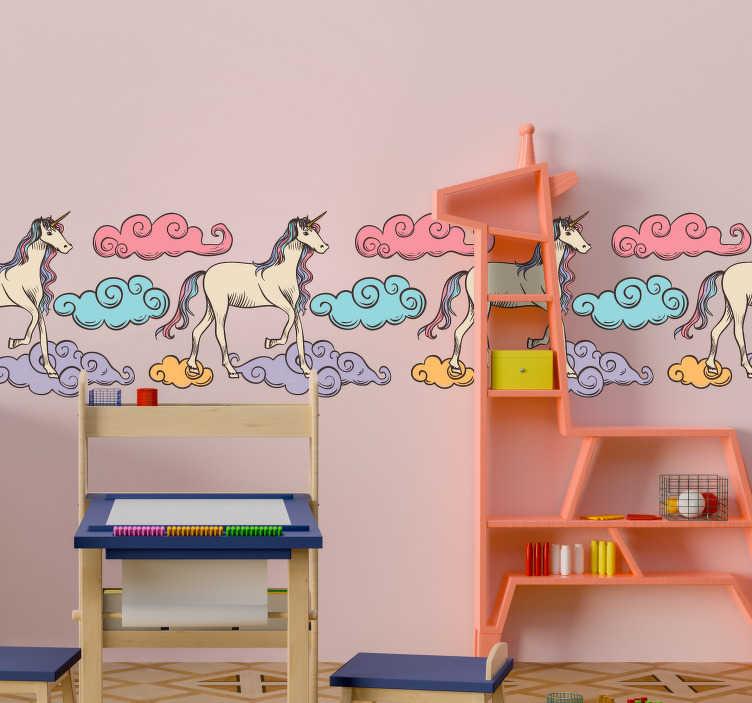 TenStickers. Sticker Chambre Enfant Licorne Dessin. Frise murale adhésive pour décorer la chambre de votre enfant. Les adorables licornes de ce sticker déco feront faire de beaux rêves à vos enfants !