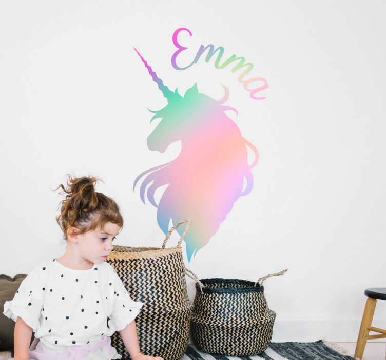 TenStickers. customizable unicorn silhouette fantasy wall sticker. Fantasy colorful unicorn silhouette wall sticker for kids space decoration. It is customisable with any name of desired. Easy to apply and adhesive.