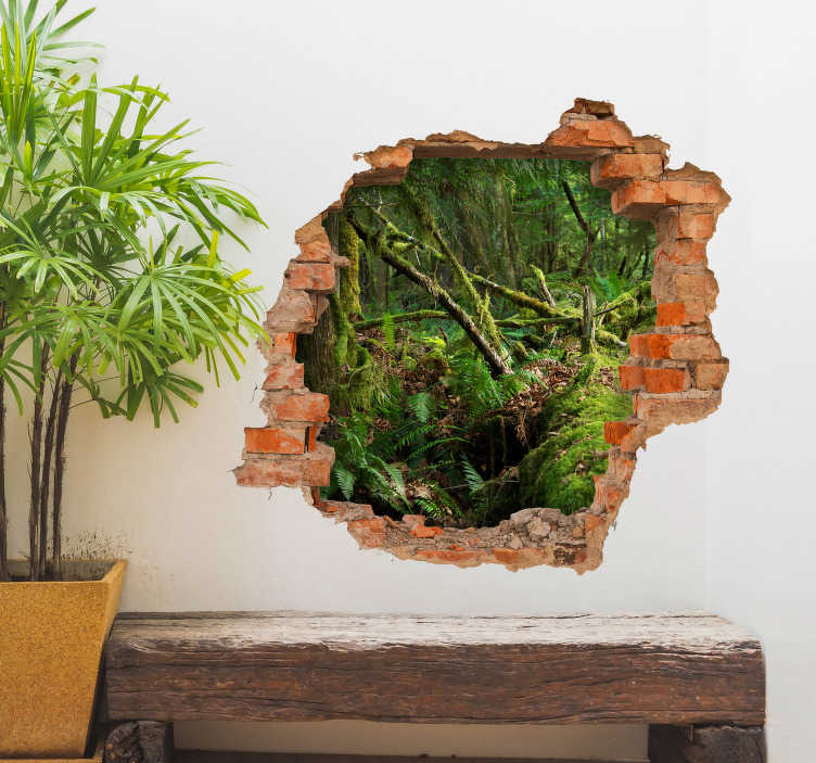 TenStickers. jungle trompe l'oeil visual effects wall sticker. Visual effect jungle  trompe l'oeil wall sticker for home and office decoration. A design of forest view from a brick wall opening.