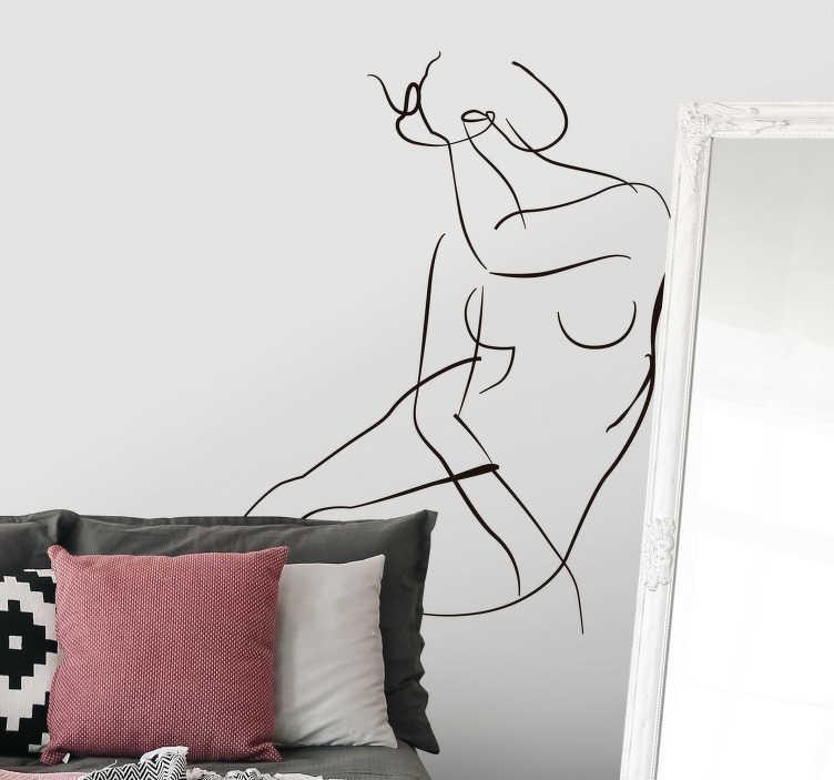 TenVinilo. Vinilo original arte minimalista pintura. Original y artística pegatina adhesiva minimalista formada por un dibujo lineal de Henri Matisse, el cual representa el cuerpo desnudo de una mujer.