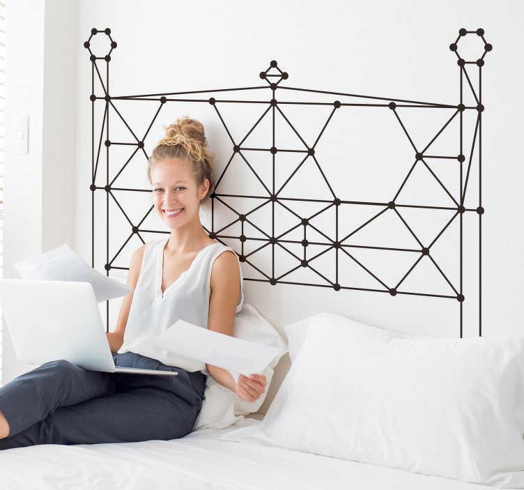 TenVinilo. Vinilo pared cabecero minimalista lineal. Cabecero adhesivo minimalista formado por un diseño de líneas rectas, las cuales forman varias formas geométricas. Fácil aplicación y sin burbujas.