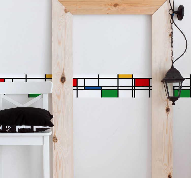 TenVinilo. Vinilo original colores minimalistas. Original cenefa adhesiva formada por líneas y cuadrados de colores, que imita el Neoplasticismo de Mondrian. +10.000 Opiniones satisfactorias.