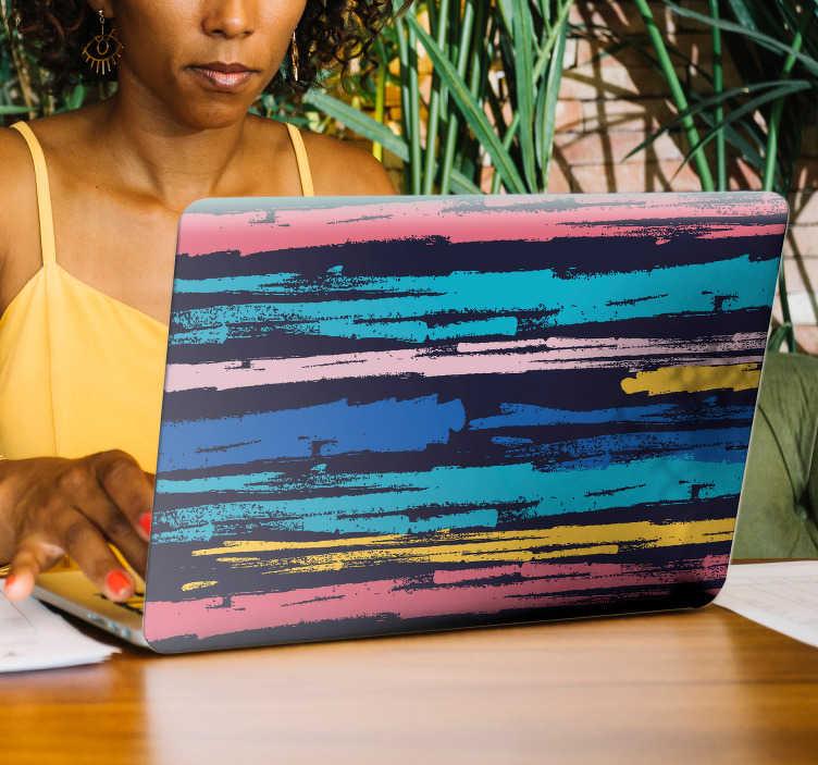 TenVinilo. Vinilo para pc decoración minimalista pintura. Fantástica pegatina para portátil o tablet formada por trazos de pintura de diferentes colores sobre un fondo negro. Fácil aplicación y sin burbujas.