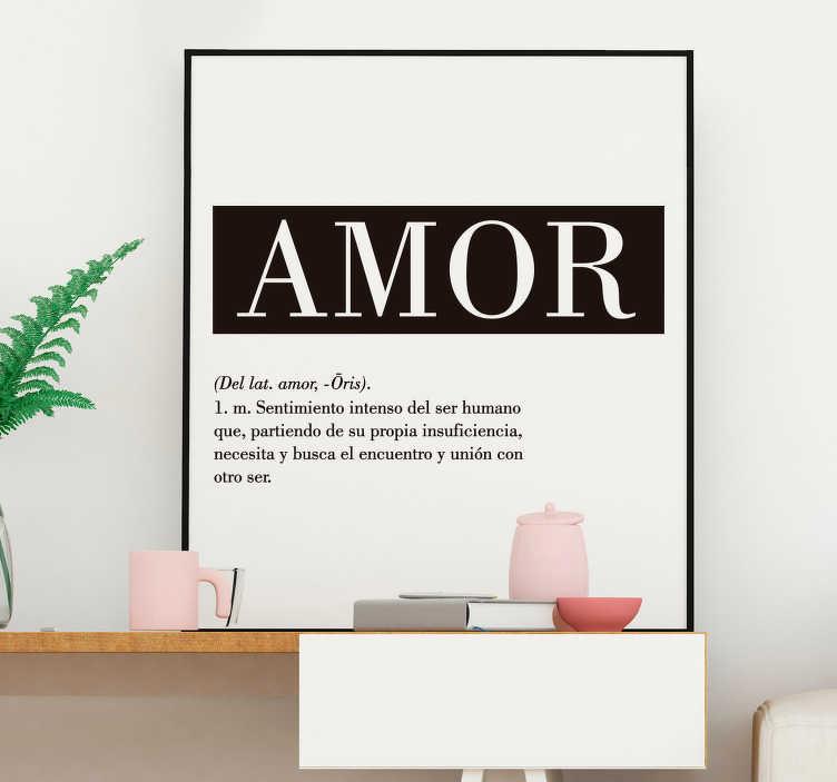 """TenVinilo. Vinilo frase dibujo minimalista de amor. Original pegatina adhesiva de estilo minimalista formada por la palabra """"Amor"""", su origen y su definición. Precios imbatibles."""