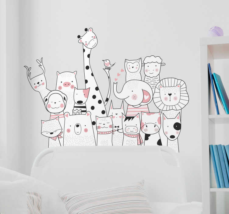 TenVinilo. Vinilo habitación infantil dibujo minimalista de animales. Pegatina adhesiva infantil formada por un serie de animales en color blanco con detalles en negro y rosa pastel. Promociones Exclusivas vía e-mail.