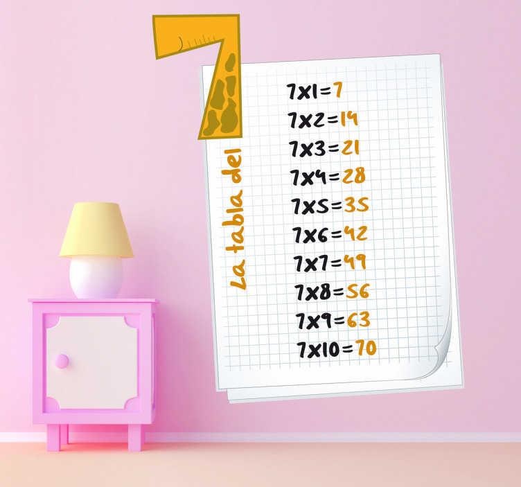 TenVinilo. Vinilo infantil hoja tabla del siete. Educativo Adhesivo infantil de la tabla del siete. Para que el aprendizaje de tu hijo sea más fácil y sea el primero de clase.