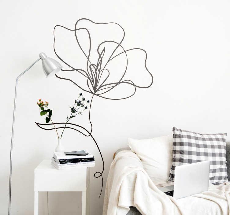 TenStickers. Sticker Maison Fleur Ornementale. Sticker mural fleur pour salon ou chambre, design épuré et élégant pour un intérieur zen et apaisant. Adhésif trait qui embellira votre décoration.