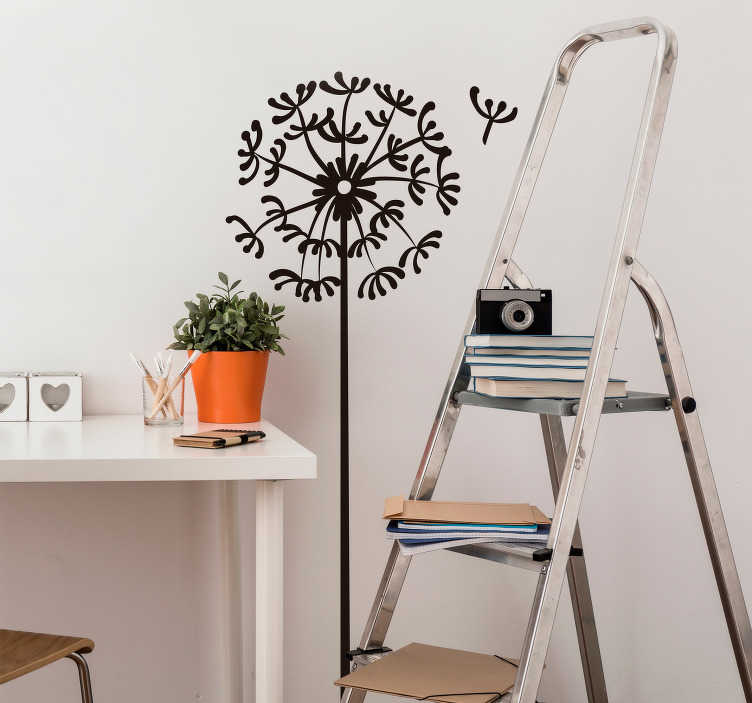TENSTICKERS. ミニマリストのタンポポの花の壁のステッカー. タンポポの装飾的なデザインとファンパターンの装飾的な花の壁のアートデカール。それはさまざまな色のオプションとサイズで利用可能です。