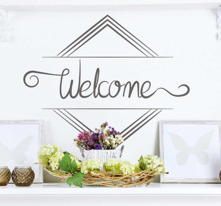TenStickers. Sticker Entrée Texte Bienvenue. Sticker pour l'entrée de votre maison, texte personnalisable. Design simple et élégant pour souhaiter la bienvenue à vos convives.
