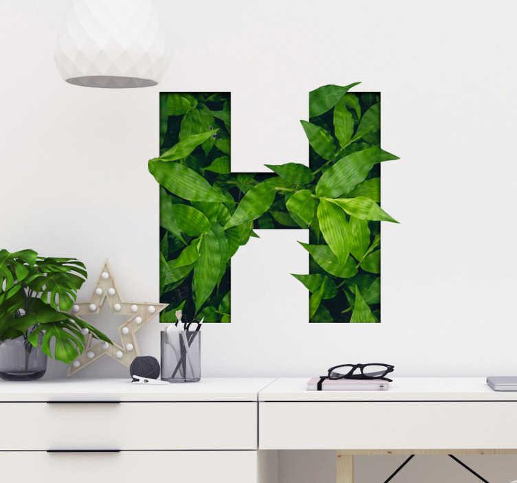 TenStickers. Sticker Plante Lettre Personnalisable. Sticker texte personnalisable plante verte. Idéal pour chambre, salon ou cuisine. Style ornemental naturel. Décoration d'intérieure singulière.