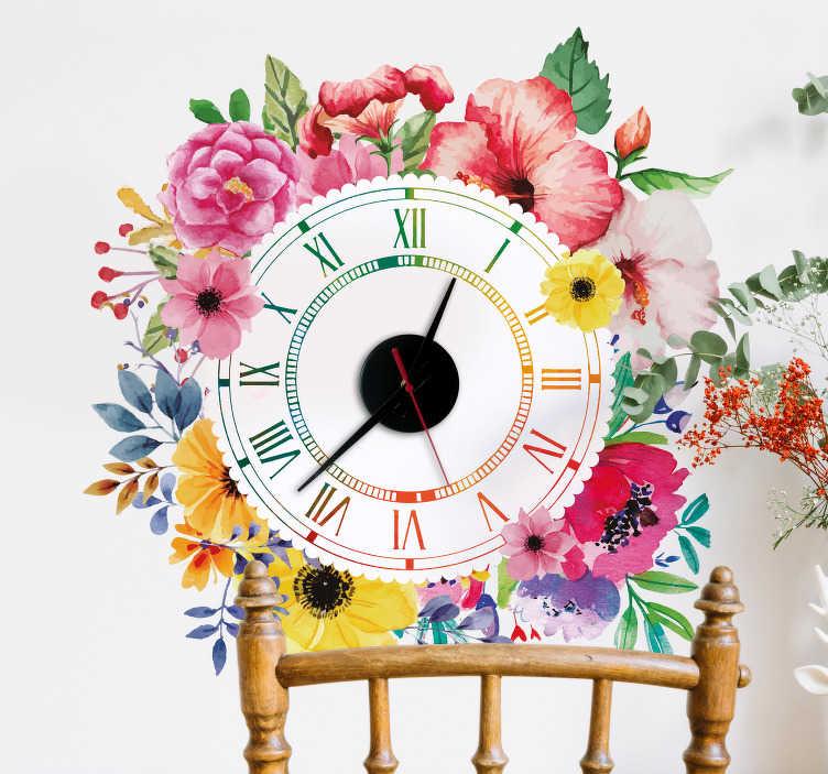 TenVinilo. Reloj vinilo minimalismo floral. Original y colorido reloj adhesivo de números romanos formado por una corona de flores alrededor de este. Promociones Exclusivas vía e-mail.