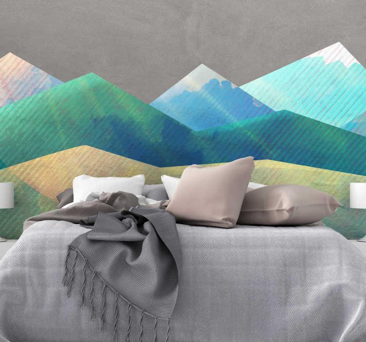 TenVinilo. Vinilo cabecero patrón minimalista montañas. Original y colorido cabecero adhesivo formado por un diseño de montañas en tonos azules, verdes y amarillos. Precios imbatibles.