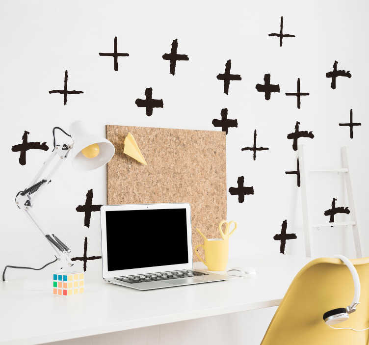 TenVinilo. Vinilo pared patrón minimalista símbolo suma. Original patrón de 20 pegatinas adhesivas formadas por el símbolo de la suma en diferentes diseños. Atención al Cliente Personalizada.