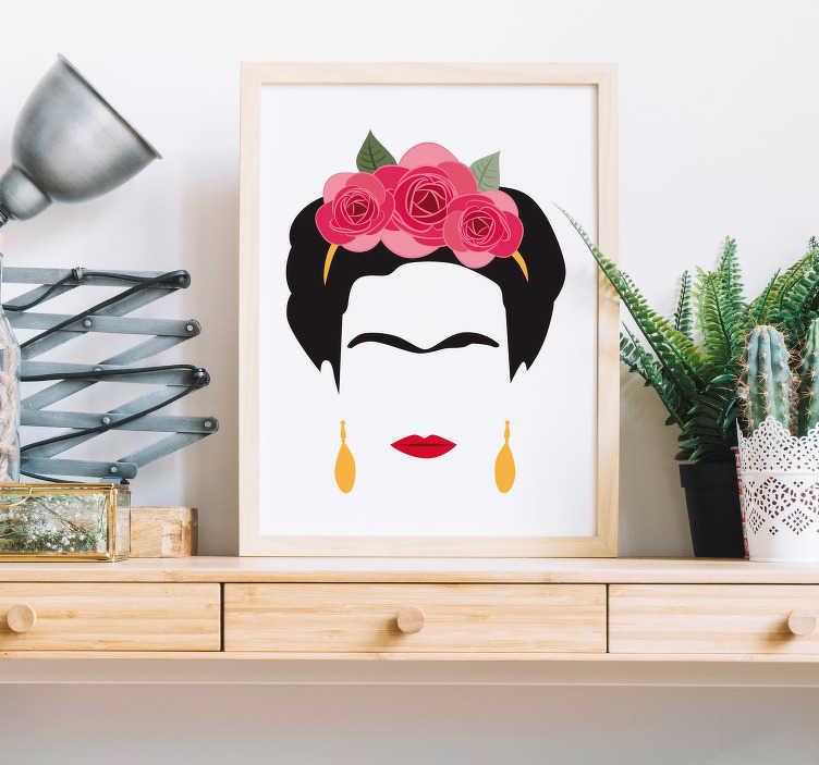 TenVinilo. Vinilo pared retrato minimalista Frida Kahlo. Original y colorida pegatina adhesiva de estilo minimalista formada por la silueta de Frida Kahlo. Fácil aplicación y sin burbujas.