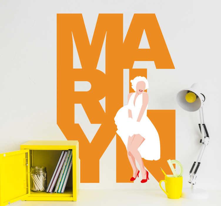 TenStickers. Sticker Cinéma Dessin Marilyn Monroe. Sticker mural Marilyn Monroe. Autocollant mural pour maison. Touche rétro et originale. Design coloré et pop-art. Application Facile.