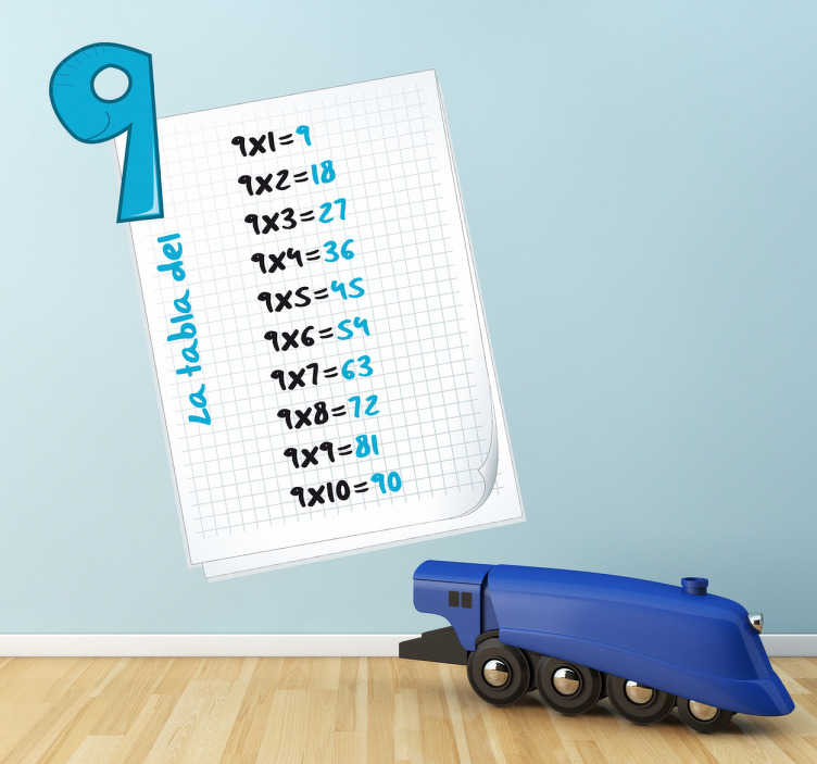 TenStickers. Adesivo bambini tabella delle moltiplicazioni 9. 9, 18, 27, 36,... Sticker decorativo che raffigura le motiplicazioni del 9. Una decorazione educativa per la cameretta dei bimbi.