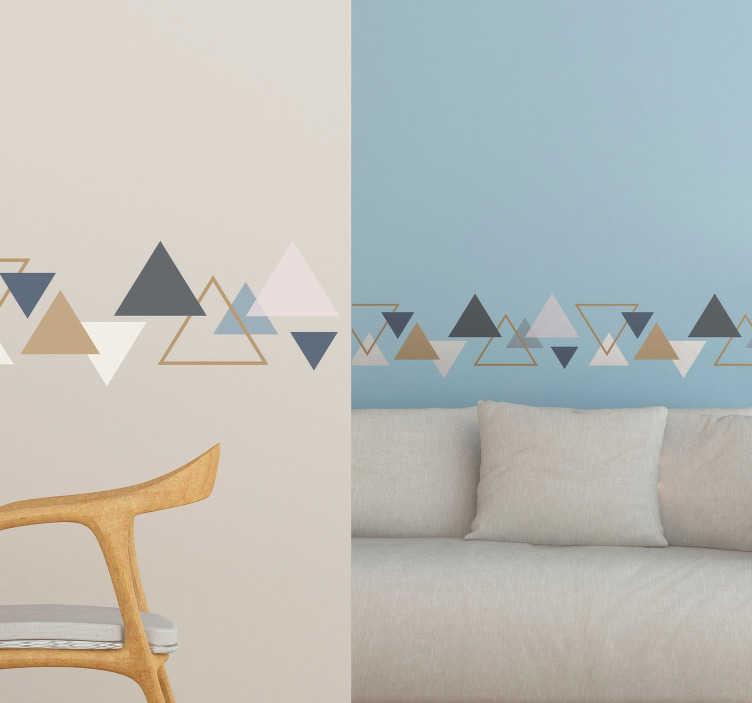 TenVinilo. Cenefa adhesiva triángulos minimalistas. Cenefa adhesiva formada por triángulos marrones, azules y blancos, de varios tamaños y colocados en diferentes posiciones. Precios imbatibles.