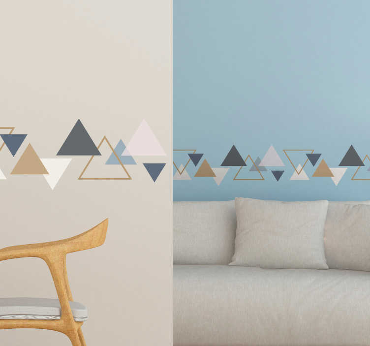 TENSTICKERS. ミニマリストの三角形(境界線)壁デカール. 家の装飾のための装飾的な幾何学的な三角形の壁の境界線。貼り付けが簡単で、必要なサイズで利用できます。