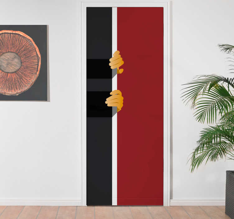 TenStickers. Deurstickers grappig deur openen. Wij hebben veel verschillende deur decoratie stickers.  Wij kunnen de maten van onze deurstickers personaliseren naar uw gewenste deurmaat!
