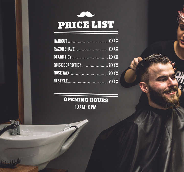 TenStickers. Barbers Price List Shop Sticker. Display your opening hours and price list for all to see thanks to this fantastic shop price list sticker! Discounts available.