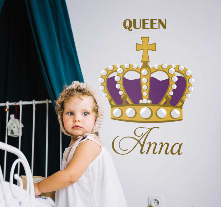 TenStickers. Britain Crown Customisable Sticker. Decorate the bedroom of the queen in your life with this fantastic customisable children´s bedroom sticker! Choose your size.