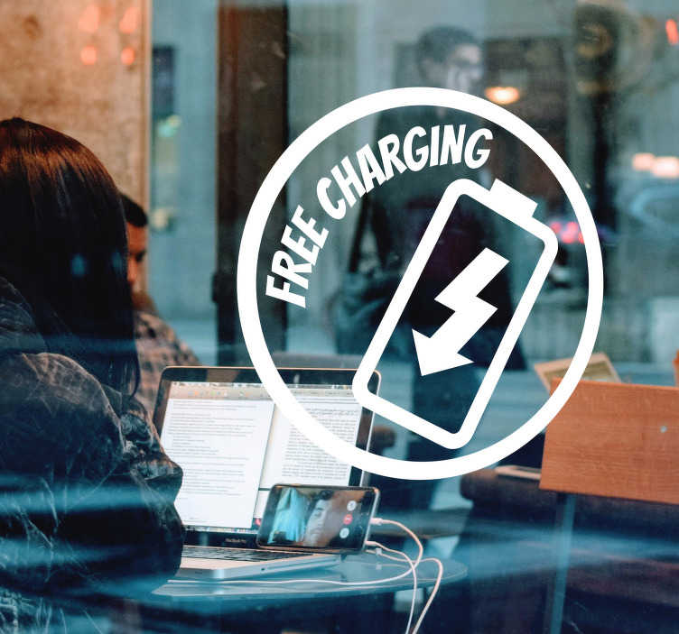 TenStickers. Free Charging Shop Window Sticker. Advertise the charging facilities in your cafe or shop with this fantastic vinyl window sticker, available in a variety of colours and sizes!