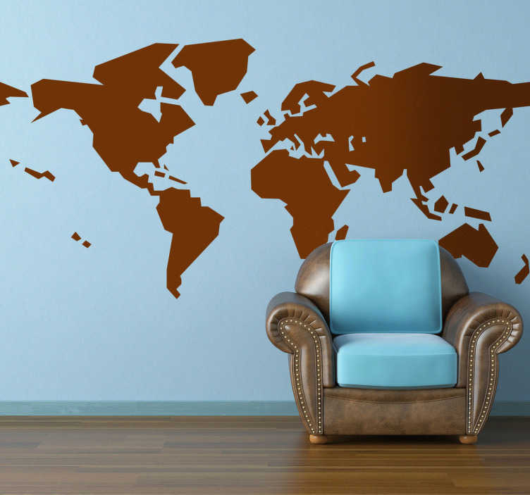 TenStickers. 抽象的世界地图贴纸. 创意世界地图墙贴纸与抽象的影响。原始贴纸装饰你的家,让它脱颖而出!经典的世界地图墙设计,你知道与现代的扭曲,基本的形状意味着它改善了它所在的任何房间的装饰。