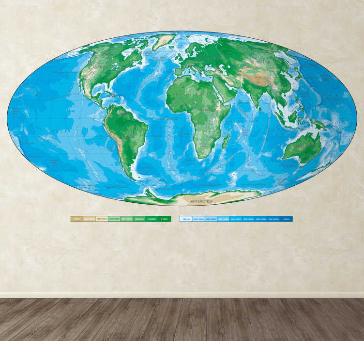 TenStickers. Autocolante de parede mapa mundo oval. Dê um novo mundo às suas salas de estar com a ajuda deste autocolante de parede da Tenstickers ilustrando um mapa mundo físico oval.
