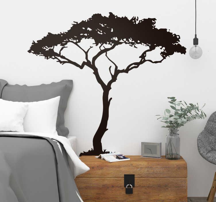 TenStickers. Sticker Maison Arbre Africain. Sticker d'arbre mural Pour maison Design silhouette d'arbre d'Afrique Sobre et élégant Touche d'originalité unique Idée de cadeau sympathique