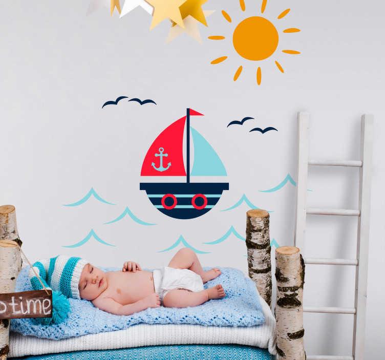 TenVinilo. Vinilo marinero Dibujo de barco. Pegatina infantil formada por el diseño de un barco navegando por el mar, bajo un sol radiante y una bandada de pájaros. +50 Colores Disponibles.