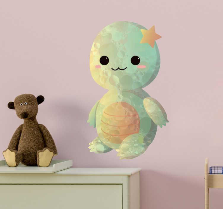 TenVinilo. Vinilo pared Dibujo bebé tortuga. Original y tierna pegatina adhesiva para habitación infantil formada por la ilustración de una tortuga bebé. +50 Colores Disponibles.