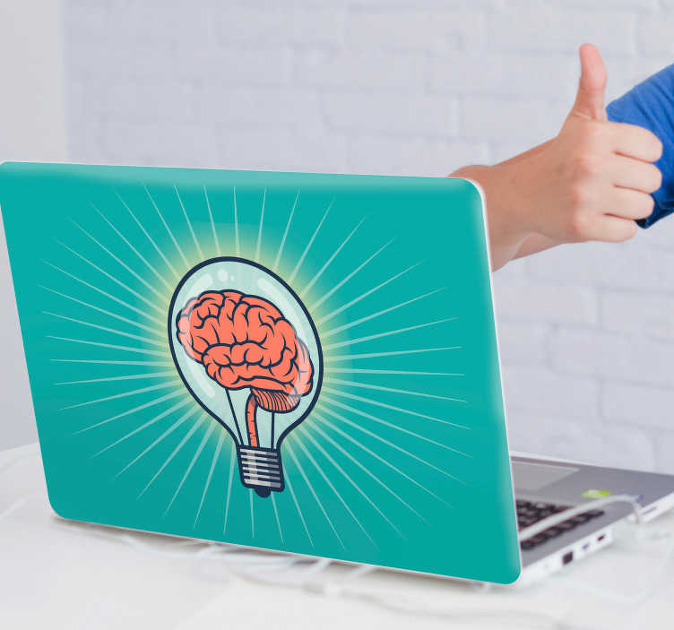 TenVinilo. Vinilo para portátiles Cerebro idea. Pegatina para portátil o tablet de color azul turquesa con el diseño de un bombilla con cerebro en su interior. Atención al Cliente Personalizada.
