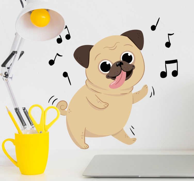 TenStickers. Muurstickers kinderkamer vrolijk dansend hondje. Een cartoon muursticker van een van een grappig dansend hondje? Super leuk als kinderkamer decoratie! Maak uw zoon of docther blij!